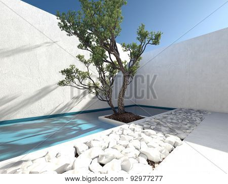 Modern exterior walled patio with a tropical tree and ornamental bed of white rocks for a sunny outdoor living area and healthy lifestyle. 3d Rendering.