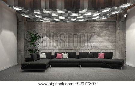 Cozy windowless living room interior with grey brick walls, a comfortable upholstered lounge suit and large group of overhead hexagonal down lights illuminating the room. 3d Rendering.