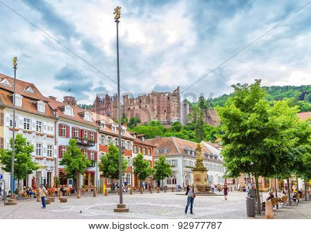 HEIDELBERG, GERMANY - MAY 28, 2015: Statue of Madonna Mary and Jesus in town square of old town city of Heidelberg Germany