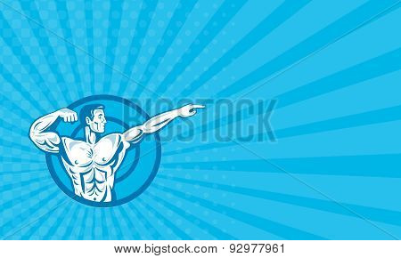 Business Card Bodybuilder Flexing Muscles Pointing Side Retro