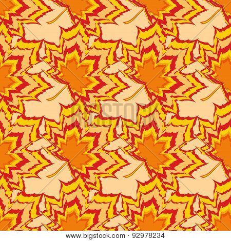 Bright Seamless Pattern With Orange And Red Leaves
