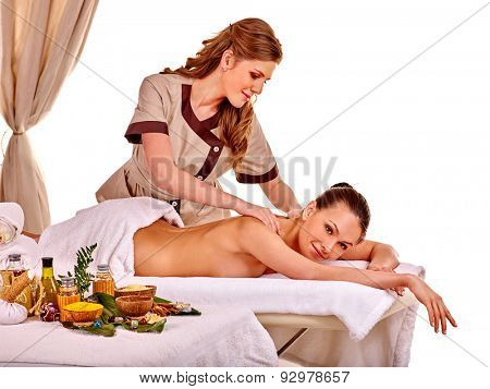 Young woman getting classical massage on Isolated.
