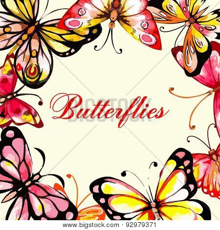 Flying butterfly card. Vector illustration. Watercolor design.