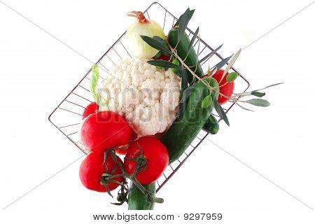 Fresh Ripe Vegetables On White