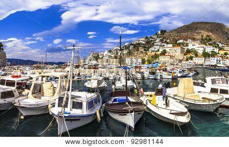 scenery of Greek islands -port of Hydra