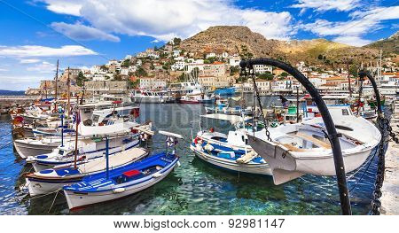 Greek holidays - pictorial port of Hydra island