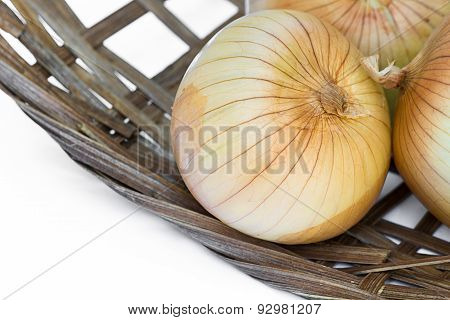 Onion In Bamboo Basket