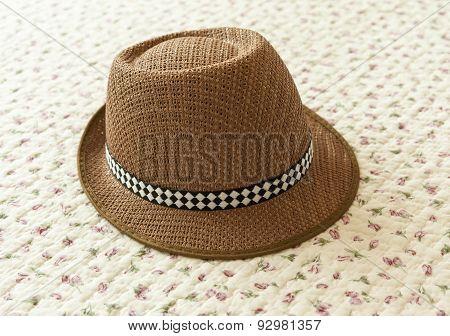 Brown Hat On Vintage Background