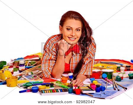 Artist woman at work with paintbrush on Isolated.