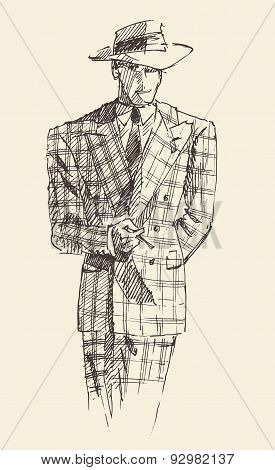 Fashion men in checkered suite with hat vector