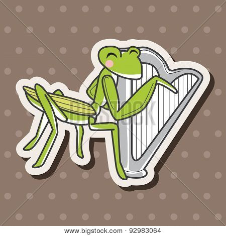 Animal Grasshopper Playing Instrument Cartoon Theme Elements