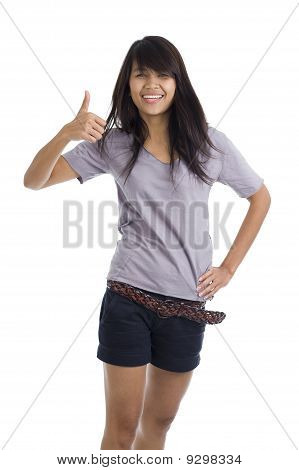 Pretty Young Woman With One Thumb Up