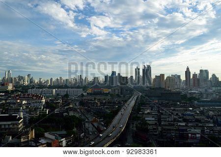 Sunshine Morning Time And Transportation In Bangkok City Thailand
