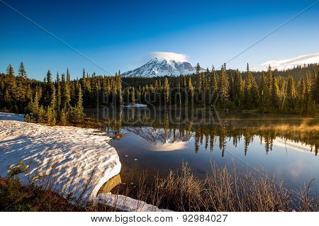 Mirror Like Reflection And Mount Rainier