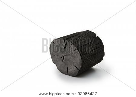 Charcoal Isolated on white.  Kishu binchotan, japanese traditional white charcoal or hard wood charcoal, isolated on white background.