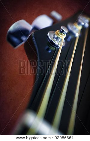 Closeup detail on an acoustic guitar head stock and metallic chord