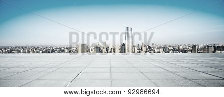 Empty floor and modern city skyline.The futuristic view deck structure is created with C4D by contributor.