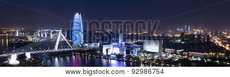 panoramic high angle view of cityscape at night