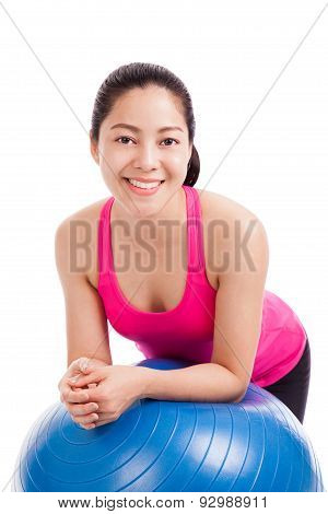 Healthy Woman - Girl Smiling And Leaning Fitness Ball Isolated On White