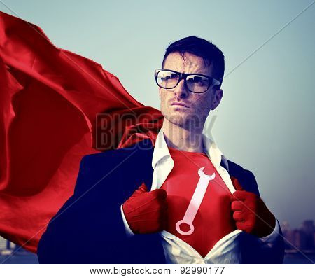 Wrench Strong Superhero Success Professional Empowerment Stock Concept