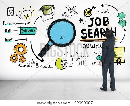 Businessman writing Job Search Application Qualification Concept