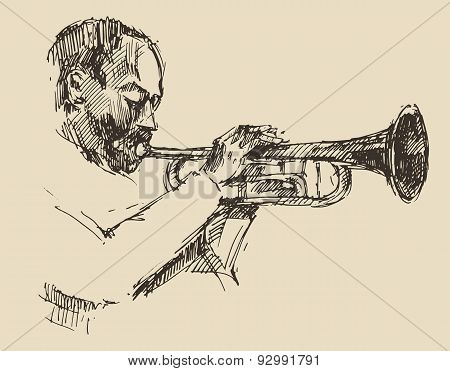 JAZZ Man Playing the Trumpet  Hand Drawn, Sketch