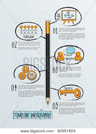 Creative timeline infographic template layout with various feature for business purpose.