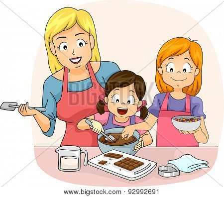 Illustration of a Teacher Teaching a Pair of Girls How to Make Chocolates