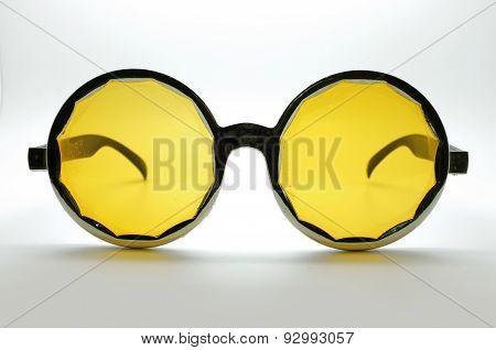 Yellow retro, vintage glasses, eye wear, black frame