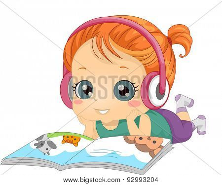 Illustration of a Little Girl Listening to an Audio Recording While Reading a Book