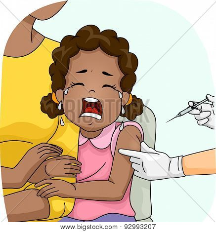 Illustration of a Wailing Girl About to be Given a Shot