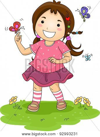 Illustration of a Little Girl Playing with Colorful Butterflies