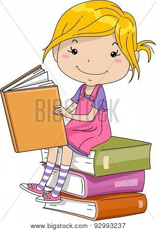 Illustration of a Little Girl Sitting on a Pile of Thick Books