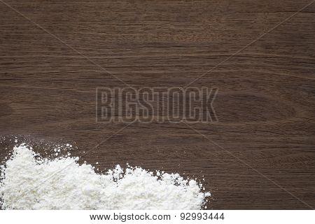 Baking Background, Flour On Vintage Wood Table