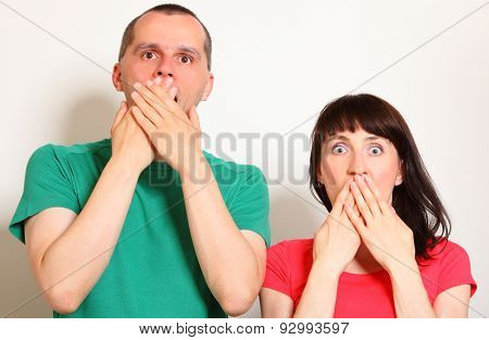 Shocked Woman And Man, Hands Covering Mouth