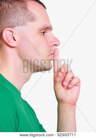 Man Showing Hand Silence Sign