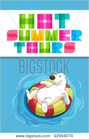 Funny Cartoon Web Banner For Travel Agency With Polar Bear