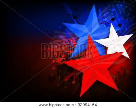 Stylish national flag color stars on creative background for 4th of July, American Independence Day celebration.
