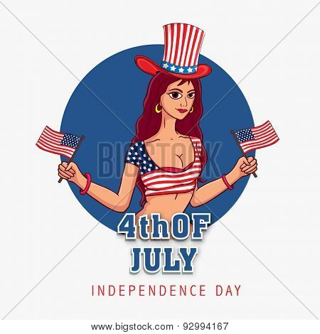 Young fashionable girl wearing national color clothes, hat and holding flag on white background for 4th of July, American Independence Day celebration.