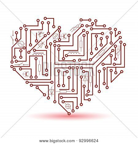 Printed Red Electrical Circuit Board Heart Symbol Eps10