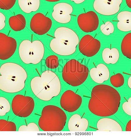 Colorful Apple Fruits And Half Fruits Seamless Pattern Eps10