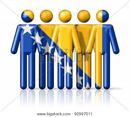 Flag Of Bosnia And Herzegovina On Stick Figure