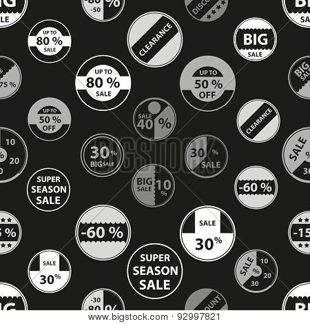 Sale Grayscale Icons Set For Discount Shop Seamless Pattern Eps10