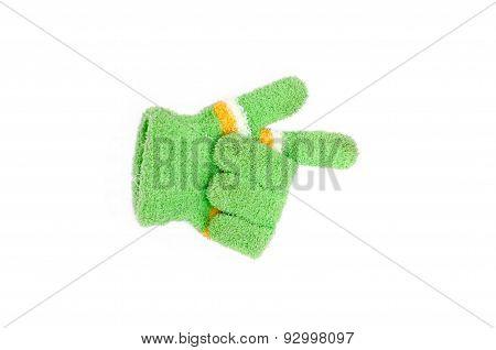 Knitted woolen gloves, winter gloves direction symbol