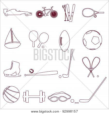 Various Sport Equipment And Tools Outline Icons Eps10