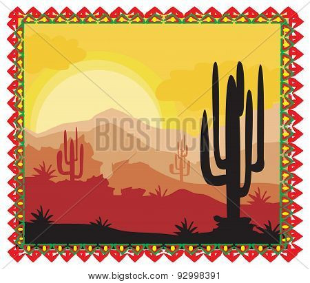 Desert Wild Nature Landscape With Cactus