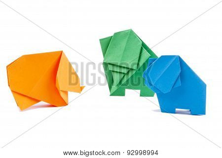 Three Origami Elephants - White Background