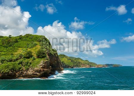 Rocky coast near Timang beach on Java, Indonesia