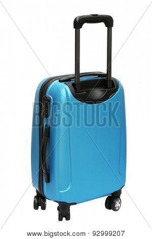 Blue Travel Bag with Wheels Standing on White Background