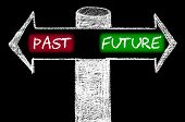 picture of past future  - Opposite arrows with Past versus Future. Hand drawing with chalk on blackboard. Choice conceptual image - JPG